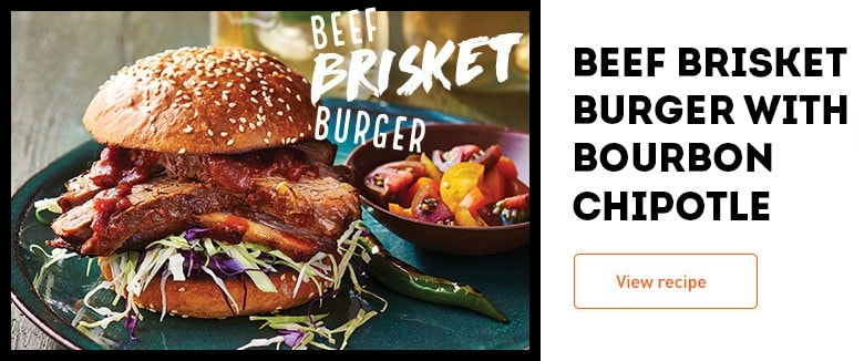 Beef Brisket Burger with Bourbon Chipotle