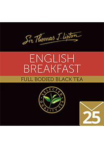 SIR THOMAS LIPTON English Breakfast Envelope Tea 25's - Made with 100% Rain Forest Alliance certified teas leaves, individually sealed for a premium and fresher tea.