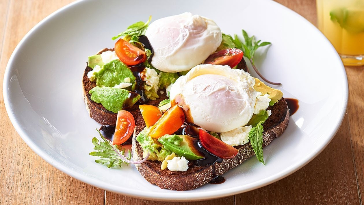 Avocado and Feta Smash on Rye with Poached Eggs and Balsamic Glaze – Recipe
