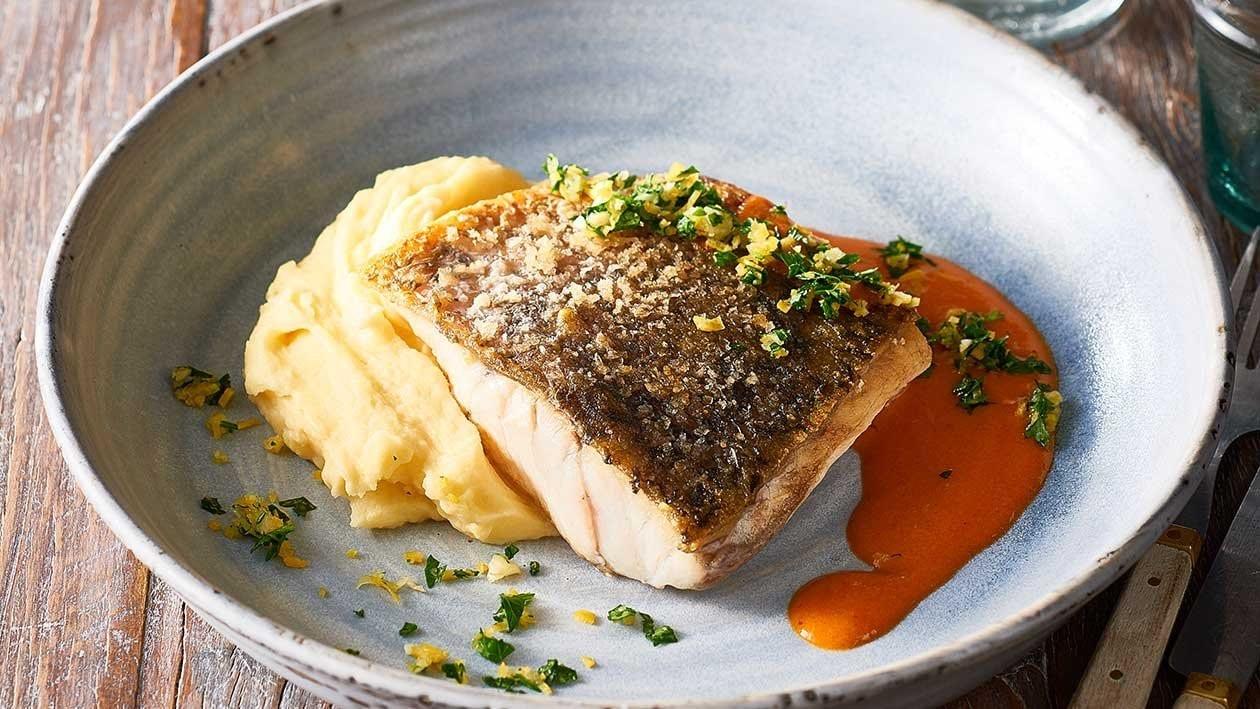 Crispy skin barramundi, creamy mash, red curry beurre blanc – Recipe