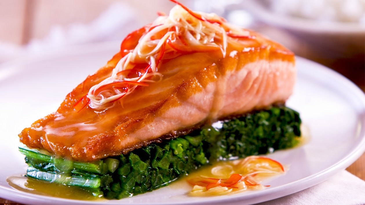 Roasted Salmon Fillet, Lemon Ginger Dressing – Recipe