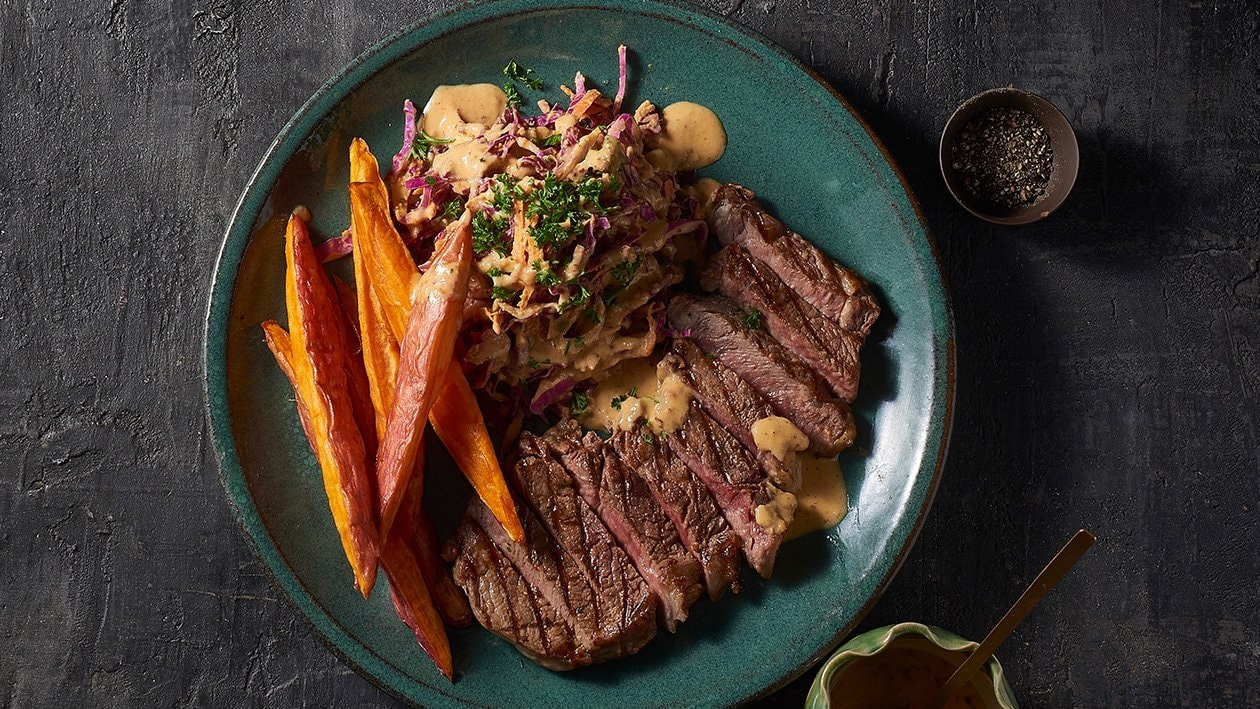 Grilled Scotch Fillet with Tom Chilli Hummus – Recipe