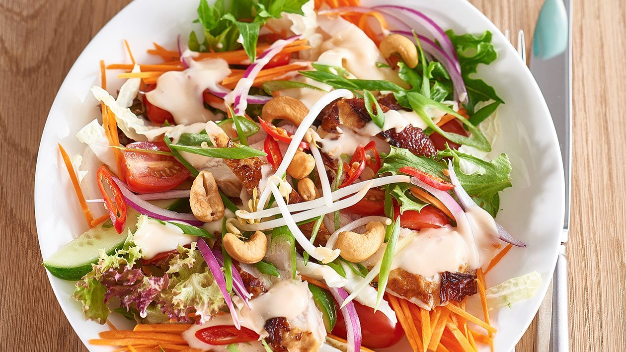 Asian Chicken Salad with Sweet Chili Lime Dressing – Recipe