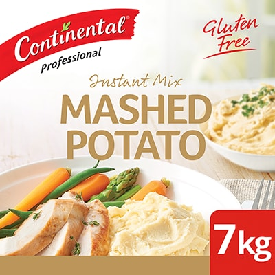 CONTINENTAL Professional Instant Mashed Potato 7 kg - This gluten-free mash is made with finely ground potatoes. It's simple to prepare and delivers, smooth, creamy & tasty potato mash in minutes.