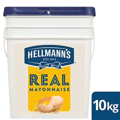 HELLMANN'S Real Mayonnaise 10 kg - HELLMANN'S Real uses traditional ingredients for a scratch-made taste - 100% free-range egg yolks, vegetable oil, lemon juice, vinegar and seasoning.