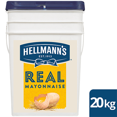 HELLMANN'S Real Mayonnaise 20 kg - HELLMANN'S Real uses traditional ingredients for a scratch-made taste. It's made with 100% free-range egg yolks & has no artificial colours or flavours.