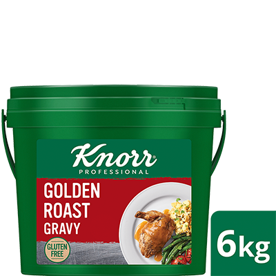 KNORR Golden Roast Gravy Gluten Free 6kg - Light, gluten-free and vegetarian, Knorr Golden Roast Gravy is ideal for modern palates and pairs beautifully with white meats and plant-based dishes.