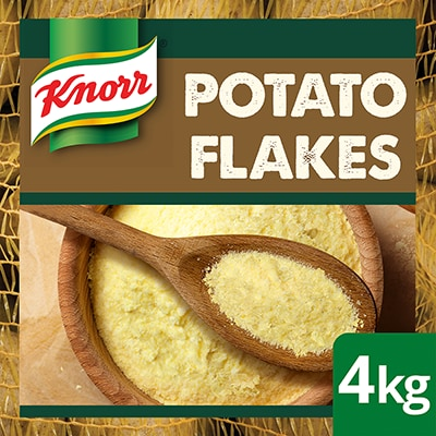 KNORR Potato Flakes GF 4kg - Made with 99% potatoes - sustainably sourced, the premium flake format of KNORR Potato Flakes delivers greater versatility and offers minimal handling.