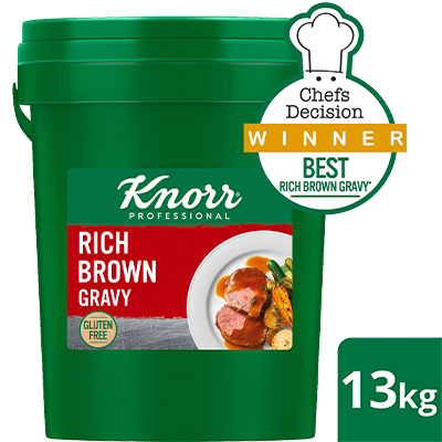 KNORR Rich Brown Gravy Gluten Free 13kg - This trusted, gluten-free and vegetarian, all-rounder gravy goes well with everything from steaks, pies and casseroles.