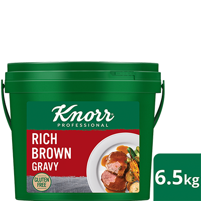 KNORR Rich Brown Gravy Gluten Free 6.5kg - Gluten-free and vegetarian, this trusted versatile gravy with goes well with everything from steaks, pies and casseroles.