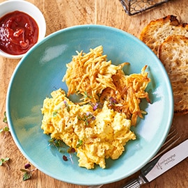 Rustic Hash Brown, Scrambled Eggs and Tomato Chilli Jam